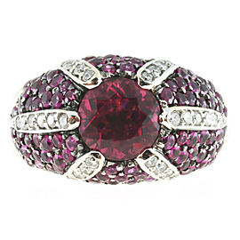 Sonia B Vintage 18K White Gold with 1.75ct Pink Tourmaline & 0.25ct Diamond Ring Size 7.75