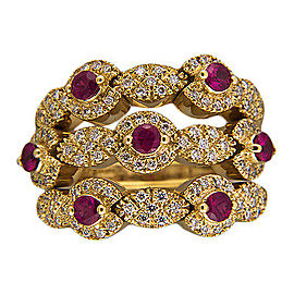 Sonia B 18k Yellow Gold Ruby Diamond Flex Top Ring Size 7