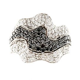 Sonia B Vintage 18K White Gold with 1.25ct White & 0.75ct Black Diamond Ribbon Ring Size 6