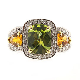 Charles Krypell 18K White Gold with 2.80ct. Peridot, 0.40ct. Citrine & 1.95ct. Diamond Vintage Ring Size 7