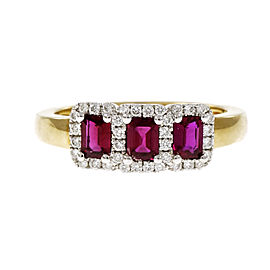 18K Yellow & White Gold Vivid Red Ruby Ring Size 6.75