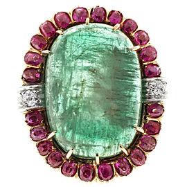 Vintage Deco 14K Rose Gold 20ct Emerald, Pink Sapphire & Diamonds Ring Size 6.75