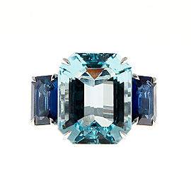 Platinum with 13.60ct Aqua and 3.50ct Sapphire Ring Size 6.5