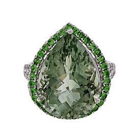 Green Quartz Prasiolite 14k White Gold Green Garnet Diamond Ring Size 7