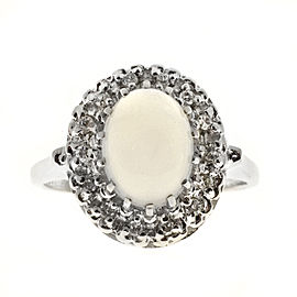 Vintage 14K White Gold 1.10ct & 1.10ct Blue Moonstone Diamond Ring Size 6.75