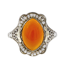 14K White Gold Carnelian Pearl Ring Size 8.25