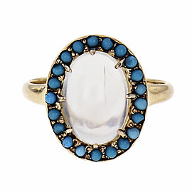 Victorian 1890 Moonstone Ring Turquoise 14k Yellow Gold