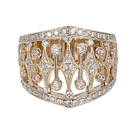 Parviz 18K White, Yellow and Pink Gold 0.70ct Diamond Band Ring Size 7