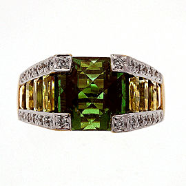 Bellarri 18k Yellow Gold 8.02ctw Tourmaline Diamond Ring Size 7.5