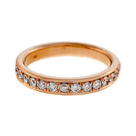 18K Pink Gold 0.42ct Diamond Wedding Band Ring Size 6.5
