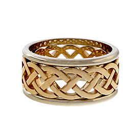 Repeating Woven Design 14k Yellow and White Gold Cut Out Wedding Band Ring Size 6.25