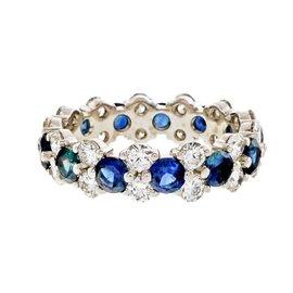 Platinum 2.16ct Sapphire & Diamond Eternity Band Ring Size 7