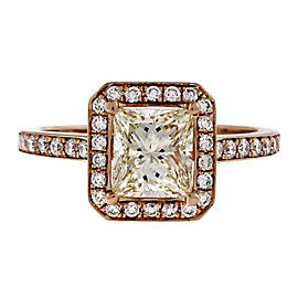 18K Rose Gold 1.00ct Princess Cut Diamond Ring Size 6.5