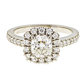 Peter Suchy Platinum Diamond Halo Engagement Ring Size 6.25