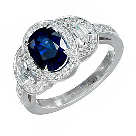 Vintage Estate Platinum 1.89ct Blue Sapphire and Diamond Triple Halo Ring Size 6