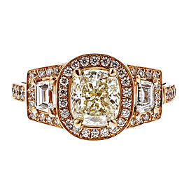 18K Rose Gold with 1.03ct Diamond Triple Halo Ring Size 6