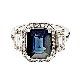 Vintage Art Deco Platinum with 4.12ct Sapphire and Diamond Halo Engagement Ring Size 6