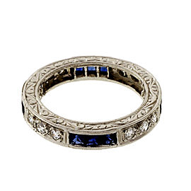 Platinum with 0.35ct Diamond and 1.00ct Sapphire Eternity Band Ring Size 5.25