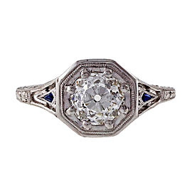 Peter Suchy Platinum with 1.01ct European Brilliant Cut Diamond and Blue Sapphire Engagement Ring Size 6.5