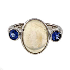 Peter Suchy 14K White Gold with 4.76ct Blue Moonstone and 0.49ct Blue Sapphire Ring Size 6.75