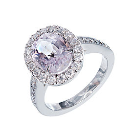 Platinum with 2.74ct Purple Pink Sapphire and Diamond Halo Engagement Ring Size 6.5