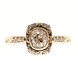 18K Pink Gold 0.96ct Diamond Halo Engagement Ring Size 7