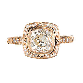 Peter Suchy 18K Pink Gold with 1.54ct Old Mine Brilliant Cut Diamond Halo Engagement Ring Size 6.75