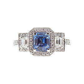 Platinum with 1.53ct Blue Sapphire and Diamond Halo Engagement Ring Size 6