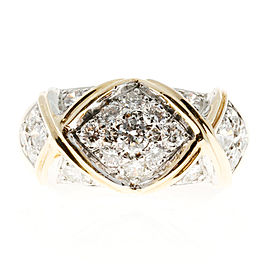 "14K Yellow and White Gold with 1.30ct Diamond ""X"" Ring Size 6.25"