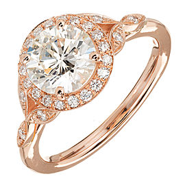 Peter Suchy 14k Rose Gold Round 1.37ct Diamond Halo Engagement Ring Size 6.5