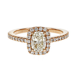 18K Rose Gold 0.90ct Cushion Cut Diamond Halo Ring Size 6.25