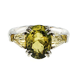 Platinum with Natural Green Yellow Sapphire Ring Size 6.75