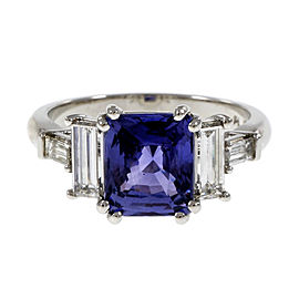Platinum with Diamond and Sapphire Engagement Ring Size 6.75