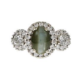 18K White Gold Diamond Cats Eye Ring Size 7
