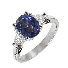 Platinum with Diamond and Purple Sapphire Ring Size 7.25