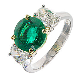 18K Yellow Gold & Platinum 3.07ct Bright Green Emerald & Oval Diamond Ring Size 7.25
