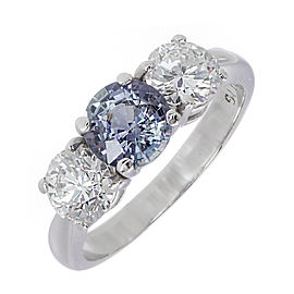 Platinum 1.05ct of Natural Color Change Grey Blue Purple Sapphire & 0.98ct Diamond Ring Size 5
