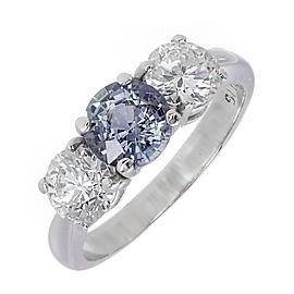 Platinum 1.05ct of Natural Color Change Grey Blue Purple Sapphire & 0.98ct Diamond Ring Size 5