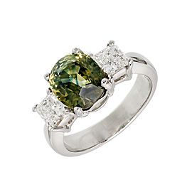 Platinum 3.05ct Yellow Green Sapphire & Diamond Engagement Ring Size 5.5
