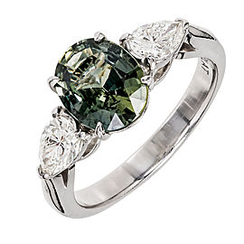 Platinum with Oval Grey Green Sapphire & Diamond Engagement Ring Size 4.75
