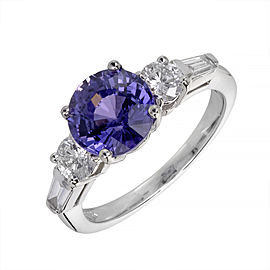 14K White Gold 3.18ct Sapphire & Diamond Ring Size 6.5