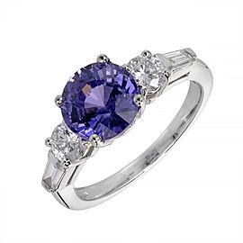 14K White Gold 3.18ct Sapphire & Diamond Ring Size 6.5