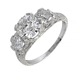 Platinum Old European Cut Diamond Ring Size 7