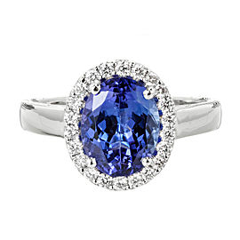 18K White Gold Tanzanite & Diamond Cluster Ring Size 6.5