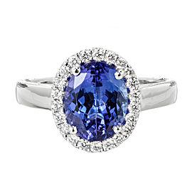 18K White Gold Tanzanite & Diamond Cluster Ring Size 6.5