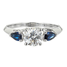 Platinum 1.03ct Diamond & Sapphire Ring Size 7.75