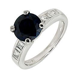 Platinum Diamond & 2.62ct Sapphire Engagement Ring Size 6.25