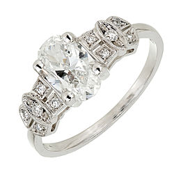 Vintage Art Deco Platinum with 1.08ct Diamond Antique Inspired Oval Ring Size 6.75
