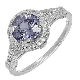 Platinum Diamond and Violet Sapphire Ring Size 6