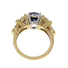 Peter Suchy 3.11ct Periwinkle Blue Sapphire Ring Marquise Diamond 14k Gold